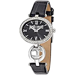 Just Cavalli Just Icon Women's Quartz Watch with Black Dial Analogue Display and Black Leather Strap R7251214504