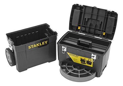 Stanley Rollende Werkstatt / Werkzeugwagen (47.3x30.2x62.7cm, zwei seperat verwendbare Werkzeugboxen, robuster Kunststoff, zwei Einheiten, Metallschließen, Organizer) 1-93-968 - 3