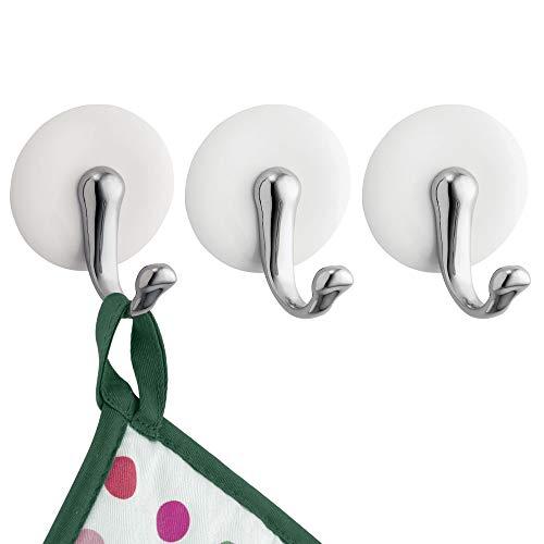 mDesign crochet porte-serviette autoadhésif – lot de 3 – porte-serviettes sans perçage pour armoire – crochet autoadhésif – parfait pour serviettes, clés et C