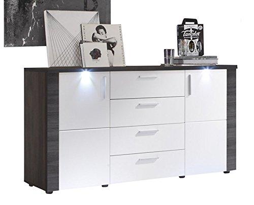 trendteam Wohnzimmer Sideboard Kommode Schrank Xpress, 150 x 82 x 42 cm in Korpus Esche Grau Dekor, Front Weiß mit LED Beleuchtung