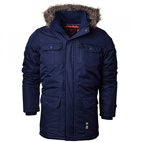 Crosshatch Mens Heavy Weight Fur Hood Parka Padded Waterproof Winter Coat Jacket Black Blue