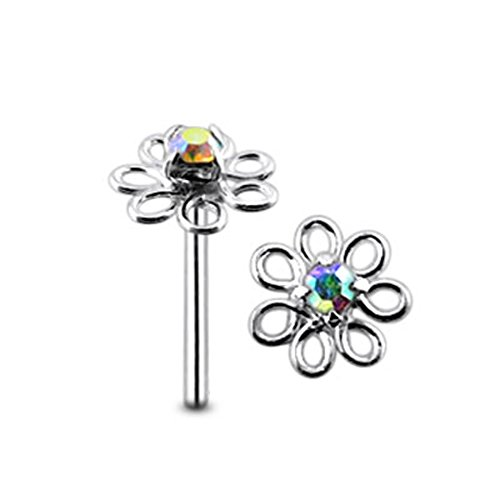 Filigrane Blume Regenbogen Crystal Stein Top 22 Gauge 925 Sterling Silber gerade Nase Stud Piercing
