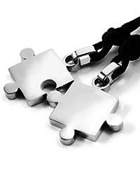 Collares con colgantes, Mendino, para hombre y mujer, 2 unidades, ideal para parejas como regalo de aniversario, diseño de puzzle plateado de acero inoxidable