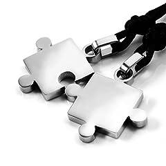 Idea Regalo - MENDINO, collana con ciondolo unisex, a forma di puzzle, in acciaio inox, colore argento, per gli innamorati, 2 pezzi