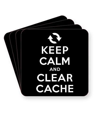 Keep Calm and Clear Cache - Internet Humour - Getränkeuntersetzer - einzeln oder als 4er Pack - quadratisch oder rund, SQUARE Pack of 4