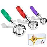 Conos de helado, Cookie cuchara melón Baller con disparador para frutas, helado cuchara de acero inoxidable scoopers- elegante paquete de regalo