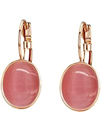 Yoursfs Exquisitely Carved 18ct Rose Gold Plated Simulate Opal Drop Leverback Earrings for Women Fashion Jewellery