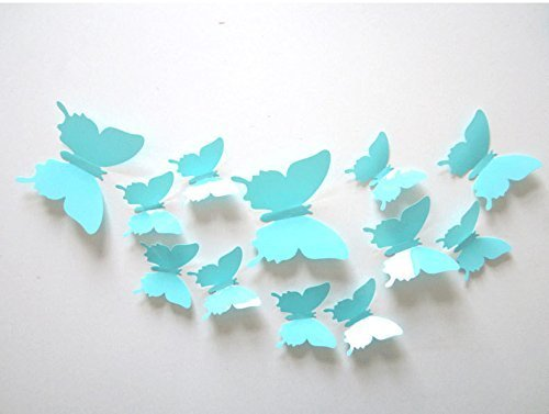 SUNBEAUTY 1 confezione da 12 pezzi farfalla 3D decorazione della parete per la casa arredamento camera da letto a casa per St. Valentines compleanno festoval (blu)