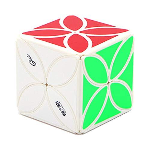 MZStech Qiyi Mofangge Creativo Irregular de Cuatro Hojas de trébol Cubo mágico Speed Sticker Puzzle Cube con un Soporte de Pantalla (Blanco)