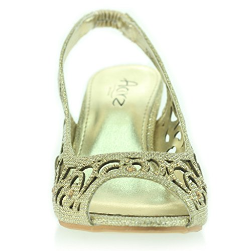 Femmes Dames Soirée Mariage Peeptoe Slingback Diamante Talon Moyen Sandale Chaussures Taille Or