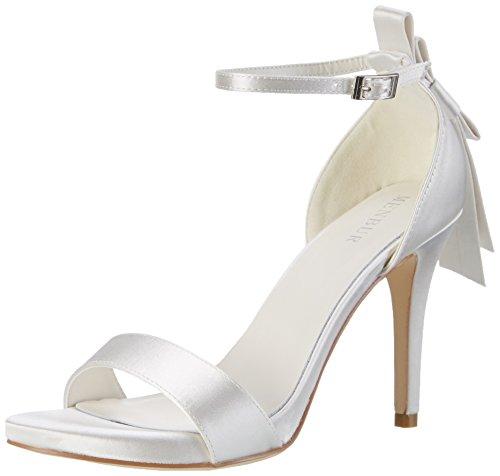 AalarDom Damen Hoch-Spitze PU Leder Niedriger Absatz Gemischte Farbe Ziehen auf Stiefel, Weiß, 38