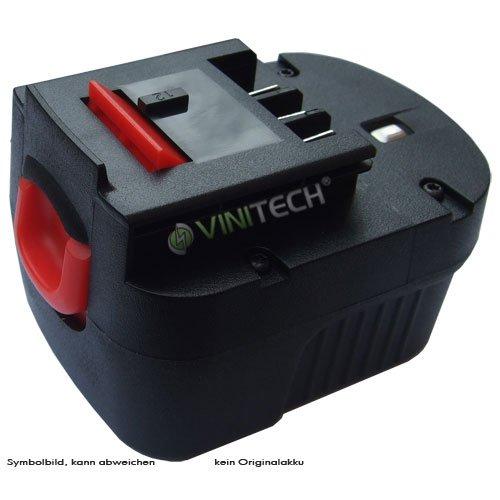 Preisvergleich Produktbild Vinitech Akku passend für Black & Decker HP126 F3, HP 126F3, HP 126F3, HP126F3B, HP126 F3B Ni-Mh 12V 2000mAh