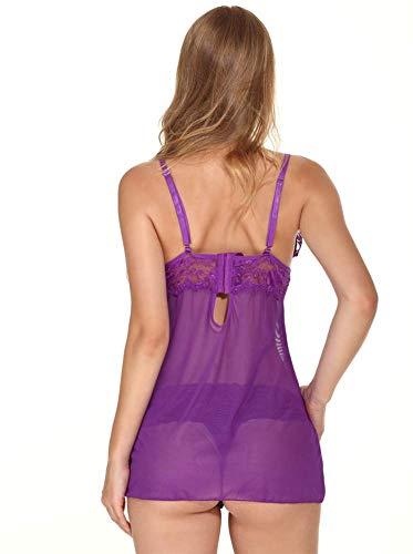 QJXSAN Unterwäsche, sexy Schlafanzug, transparente Spitze Satin-Schleife und niedlichen Dress up