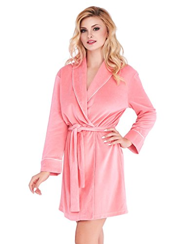 Mio Lounge Coral Velour Piped Robe ML16V2RB S-M