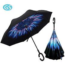 Paraguas Inversa, Manos Libres Reversible Impermeable de Doble Capa Tipo C a Prueba de Viento