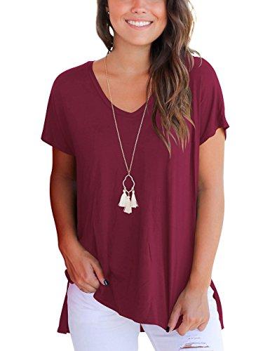 Dasbayla Kurzarmshirt Damen V-Neck T-Shirt Loose Shirt Tops Unregelmäßige Saum Wein