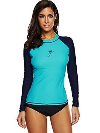Womens Color Block Rash Guard Long Sleeve Swimsuit ...