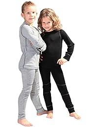 icefeld® - atmungsaktives Thermo-Unterwäsche Set für Kinder - warme Wäsche aus langärmligem Oberteil + langer Unterhose (ÖkoTex100)