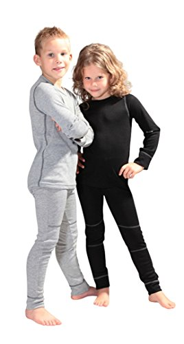 icefeld® - atmungsaktives Thermo-Unterwäsche Set für Kinder - warme Wäsche aus langärmligem Oberteil + Langer Unterhose: grau in Größe 110/116