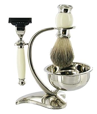 Mach 3 Shaving Set with Bristle Brush & Bowl in elegant white finish