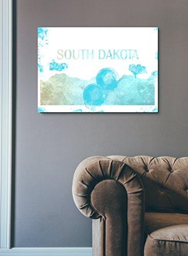 Inspired Walls South Dakota USA Amerika Staaten Sehenswürdigkeiten Skyline Aquarell Bunte Wand DÃ COR Poster Print Kunst