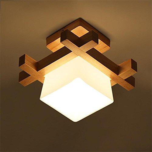 Madera lámpara de luz en el pasillo de techo del porche creativa lámpara del dormitorio LED minimalista moderna lámpara del salón de techo chino japonesa
