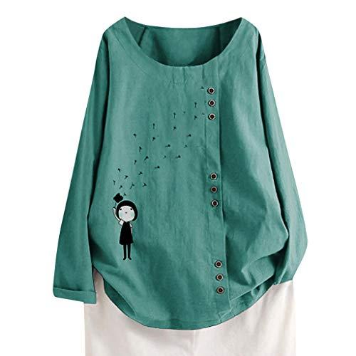 TUDUZ Blusas Mujer Manga Larga Camisas Botón Camisetas Impresión Tops Suelto Talla Extra M-5XL Verde.k...