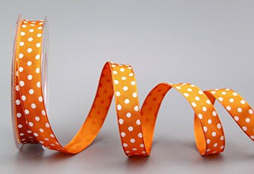 Dekoband (0,69€/m) Punkte ORANGE/Weiss 20 m x 15 mm Rolle Geschenkband mit Draht Taftband gepunktet Polka Dot fröhlich Ostern Geburtstag 1,5 cm Kinder Schleifenband von FINEMARK (Polka Dot Orange)