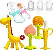 LEHSGY Baby Teething Toys Set With 2 Baby Food Feeder