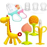 LEHSGY Baby Teething Toys Set with 2 Baby Food Feeder Fruit Feeder Pacifier and 3 Different Sized Silicone Sacs, 4 Silicone B