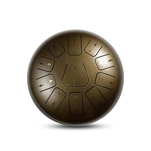 LLC-POWER Steel Tongue Drum 12 Zoll 11 Notes Tank Drum Chakra Drum, Percussion Hang Drum Instrument mit Padded Travel Bag und Mallets,Brown