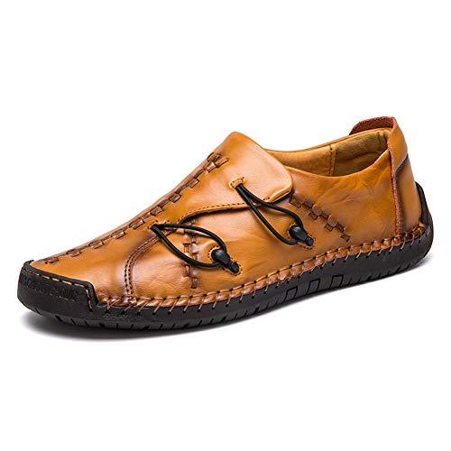 Scarpe da Mocassini Uomo Loafers in Pelle Casuale Guida Moda Casual Mocassino Basse Classic Scarpe da Cuoio Barca Oxford (43.5/44 EU, Giallo 1)