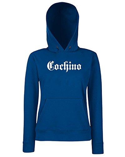 T-Shirtshock - Sweats a capuche Femme FUN1024 cochino old english t shirt Bleu Navy