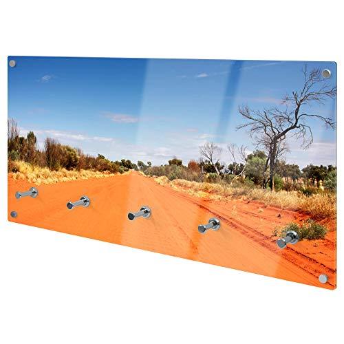 banjado Wandgarderobe aus Echtglas | Design Garderobe 80x40x6cm groß | Paneel mit 5 Haken | Flurgarderobe für Jacken und Mäntel | Garderobenleiste mit Motiv Australischer Sand