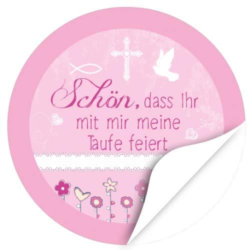 48 Design Etiketten, rund/Schön, dass Ihr da seid - Rosa Symbole/Thema Taufe, getauft/Aufkleber / Sticker/für die Feier und Gäste als Dankeschön