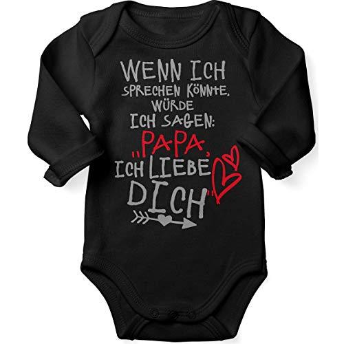 t Spruch für Jungen Mädchen Unisex Langarm Wenn ich sprechen könnte würde ich Sagen: Papa ich Liebe Dich | handbedruckt in Deutschland |, Farbe:schwarz, Grösse:86/92 ()