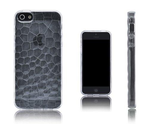 Xcessor Liquid Cell - Flexible TPU Schutzhülle für Apple iPhone SE / 5S / 5 mit Optical Illusion Bubble-Effekt. Lila / Semi-Transparent durchsichtig