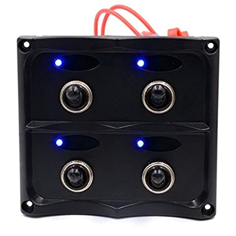 LED Switch, Hansee 4 Gang Waterproof Car Auto Boat Marine LED Switch Panel Circuit Breakers