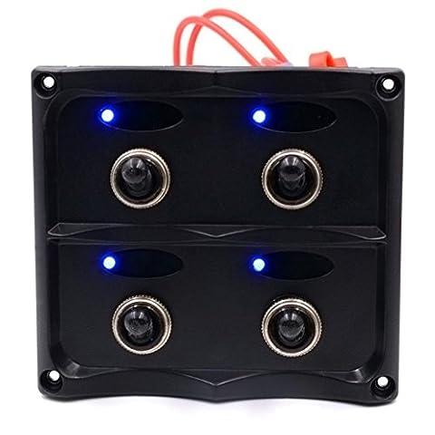 LED Interrupteur, hansee 4Gang Panneau LED voiture auto Bateau Marine étanche Interrupteur Disjoncteur