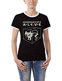 Touchlines Damen Kontrast T-Shirt - Schroedingers Cat Is Alive Girlie Ringer