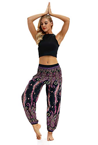 URVIP Damen\'s Gedruckte Yoga Leggings Patterned Hosen Harem Hippie Boho Yoga Palazzo Sporthose Fitnesshose Yoga Leggings Bloomers One Size YCI-043