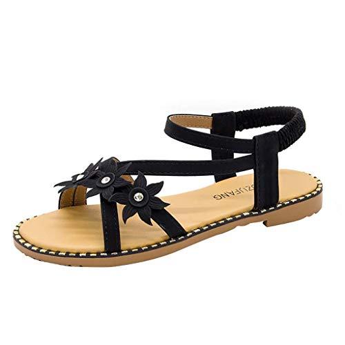 DDKK Sandalen für Damen, klassisch, offener Zehen, Schlupf, modisch, Knöchelriemen, Schnalle, lässige Plateau-Keile, Sandalen, Retro-Sonnenblume US Size: 6.5 schwarz -