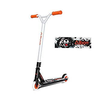 Albott Stunt Scooter Y-Form Freestyle-Tretroller mit rutschfestem, mattiertem Lenker und Aluminiumdecks Kick Scooter für Kinder und Erwachsene (Orange-Weiß)