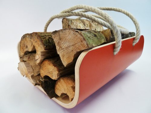 Red Modern Log Basket / Carrier by Lola and Daisy Designs