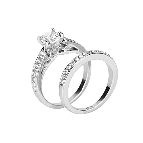Women'S Silver Ring,Beauty Top 2 Pcs Zircon Ring Jewelry Set,Women'S Fashion Jewellery Lovers Ring Valentine'S Wedding,Jewellery Sets,Mothers Day Gifts (O)