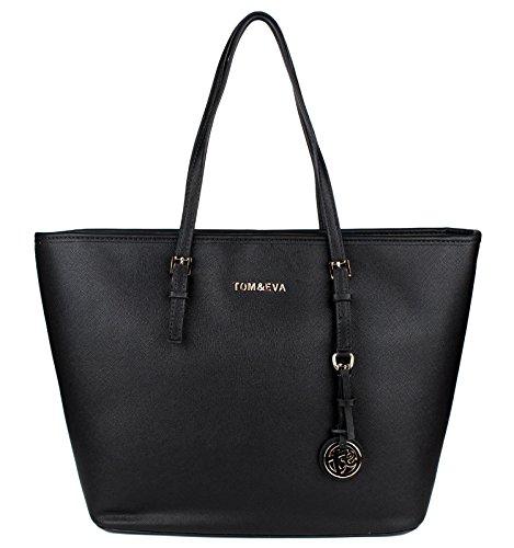 Shopper Tasche Handtasche Schwarz Tom & Eva Schultertasche Neu (Tasche Schwarze Abend Handtasche)
