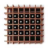 Modulares Weinregal System PRIMAVINO, für 42 Fl, Holz Kiefer dunkelbraun, stapelbar/erweiterbar - H 76 x B 75 x T 22 cm