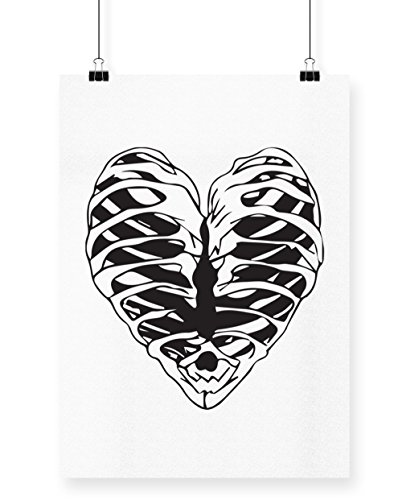 hippowarehouse Skeleton Heart Poster Druck Wall Art Design A3 (Hearts Jack Halloween Kostüm Of)