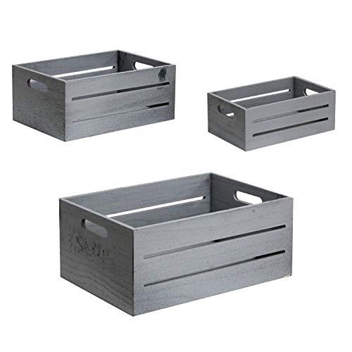 WM Homebase 3er Set Aufbewahrung Organizer Korb Aufbewahrungsbox für Dokument Magazine Zeitungen Bücher aus Holz in Grau