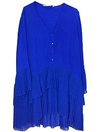 8844bd2cfea58 Zara Women s Contrasting Pleated Blouse 2731 243 Blue